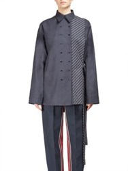 Cedric Charlier Double Breasted Button Down Shirt Navy Striped
