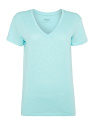 Linea V Neck Solid Tee Green