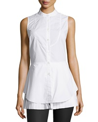 10 Crosby Derek Lam Peplum Sleeveless Blouse Soft White