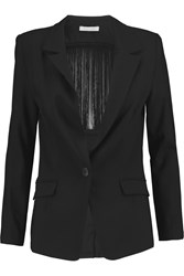 Alexis Skye Fringed Stretch Wool Crepe Blazer Black