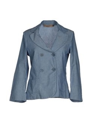 Manila Grace Denim Blazers Pastel Blue