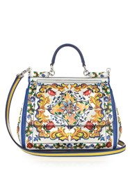 Dolce And Gabbana Sicily Majolica Print Leather Tote White Multi