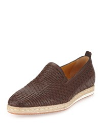A.Testoni Woven Leather Slip On Espadrille Brown Men's