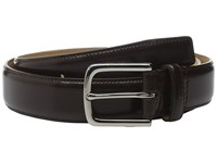 Cole Haan 32Mm Spazzolato Feather Edge Stitched Strap Chocolate Men's Belts Brown