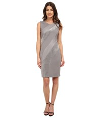 Calvin Klein Sheath W Faux Suede And Pleather Mix Tin Women's Dress Gray
