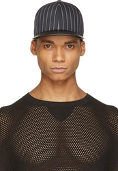 Rag And Bone Navy Pinstripe Leather Brim Cap