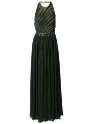 Elie Saab Beaded Top Gown Green