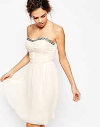 Little Mistress Prom Dress With Embellished Trim Nude