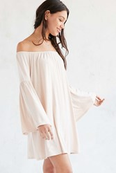 Ecote Knit Off The Shoulder Bell Sleeve Frock Dress Nude