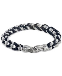 Esquire Men's Jewelry Twist Link Bracelet In Black Leather And Stainless Steel First At Macy's Silver