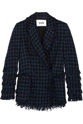 Msgm Fringed Houndstooth Tweed Jacket Navy