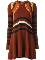 Paco Rabanne Striped Knit Dress Yellow And Orange