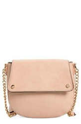 Bp. Faux Leather Saddle Flap Crossbody Bag Pink Blush