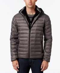 Calvin Klein Men's Packable Hooded Puffer Coat Dark Chromium