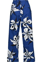 Marni Printed Cotton Poplin Wide Leg Pants Cobalt Blue