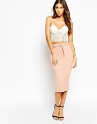 Oh My Love Pencil Skirt With Metal Hardware Belt Detail Nude