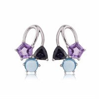 Manja Kintana Iolite Blue Topaz And Amethyst Earrings Blue Pink Purple