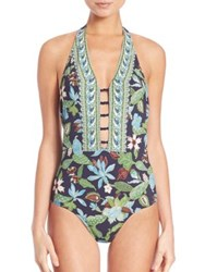 Tory Burch One Piece Wisteria Plunging Swimsuit