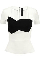 Roland Mouret Gaulden Two Tone Crepe Peplum Top White
