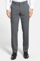 Calibrate Flat Front Houndstooth Trousers Light Grey