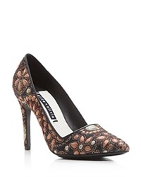 Alice Olivia Dina Jacquard Pointed Pumps Pink Gold