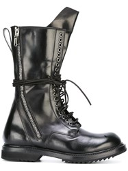 Rick Owens Lace Up Army Boots Black