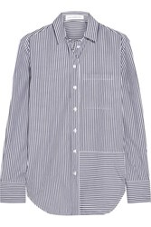Victoria Beckham Denim Oversized Striped Cotton Shirt Blue