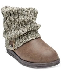 Muk Luks Patti Foldover Sweater Booties Women's Shoes Brown Marl