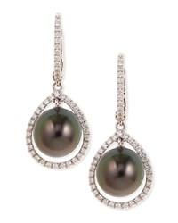 18K Gray South Sea Pearl And Diamond Halo Earrings Eli Jewels Blue