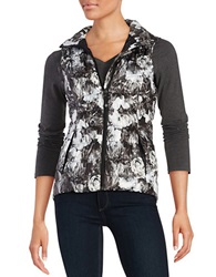 Betsey Johnson Zip Front Puffer Vest Black White