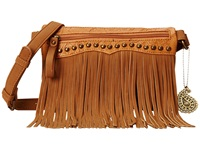 American West Sun Valley Fringe Crossbody Wallet Tan Embossed Tan Cross Body Handbags Brown