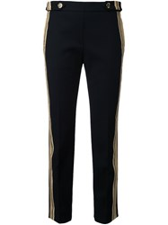 Neil Barrett Striped Cropped Trousers Black