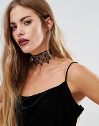Love Rocks Halloween Wide Lace Choker Black