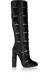 Tom Ford Patchwork Calf Hair And Leather Knee Boots Black
