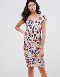 Paper Dolls Garden Floral Pencil Dress With Capped Sleeves Print Multi