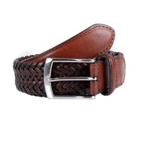 Dents Mens Plaited Leather Belt Brown