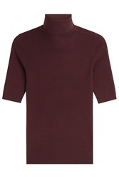 Theory Merino Wool Turtleneck With Short Sleeves Red