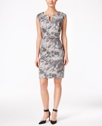 Connected Petite Printed Belted Sheath Dress Charcoal