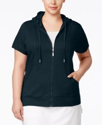 Styleandco. Style And Co. Plus Size Short Sleeve Hoodie Only At Macy's Industrial Blue