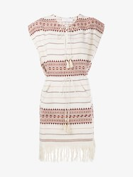 Zimmermann Harlequin Embroidered And Fringe Poncho Dress Red White Harlequin Metallic Gold
