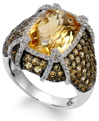Macy's Sterling Silver Citrine 9 3 8 Ct. T.W. And White Topaz 1 2 Ct. T.W. Ring