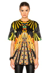 Givenchy Optical Wings Satin Tee In Black Yellow Abstract Black Yellow Abstract