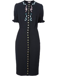 Olympia Le Tan Embellished Button Dress Black