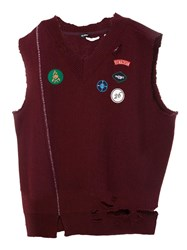 Raf Simons Frayed Patch Design Vest Red