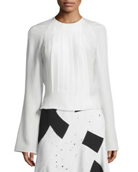 Derek Lam Long Sleeve Pleated Silk Blouse White