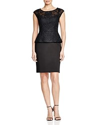 Sue Wong Cap Sleeve Peplum Dress Black
