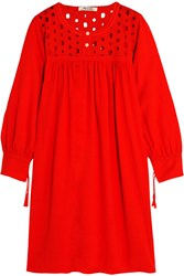 Madewell Embroidered Cutout Linen Blend Dress Tomato Red