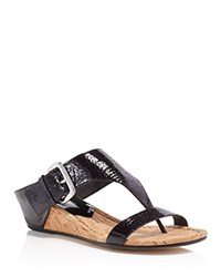 Donald J Pliner Doli Buckle Cork Wedge Sandals Black
