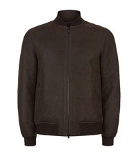 Z Zegna Embossed Shearling Bomber Jacket Male Brown