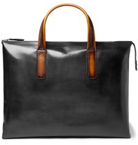 Berluti Perspective Moderniste Polished Leather Briefcase Black